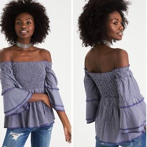 [American Eagle] Smocked Bell Sleeve Striped Top
